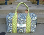 New Monogrammed Duffle Made to order in your fabric choice