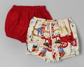 Red & Vintage Cowboy Print Diaper Cover Set