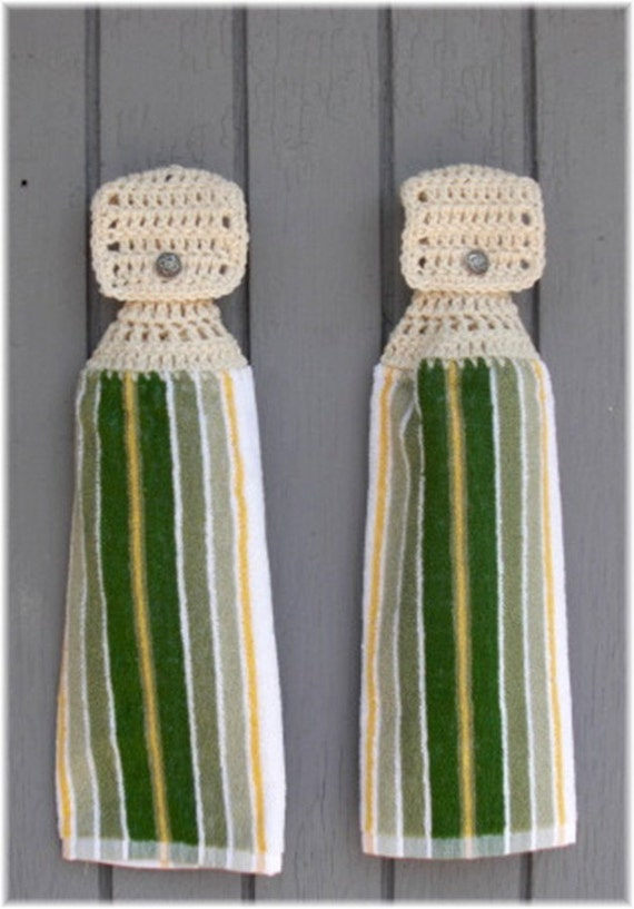 Hanging Kitchen Towels Green Yellow & White by DebbieCrochets