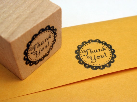 Thank You Rubber Stamp - Handmade rubber stamp by BlossomStamps