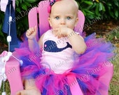 Pink baby tutu only with navy, 1st and 2nd birthday skirt for girls, choose your size newborn, 3,6,9,12,18,24 months, -PREPPY PINK