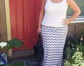 Gray (grey) Chevron maxi skirt with yoga waistband custom size