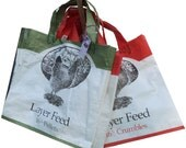 Tote Bag Chicken Feed Upcycled Orange or Green
