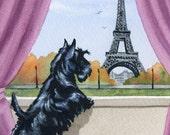 "Scottish Terrier Art Print ""SCOTTISH TERRIER In Paris"" Signed by Artist DJ Rogers"