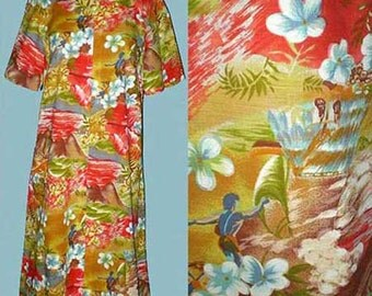 Vintage 60s Hawaiian Lounge Beach Dress S