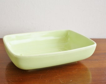 Vintage USA Pottery lime green dish