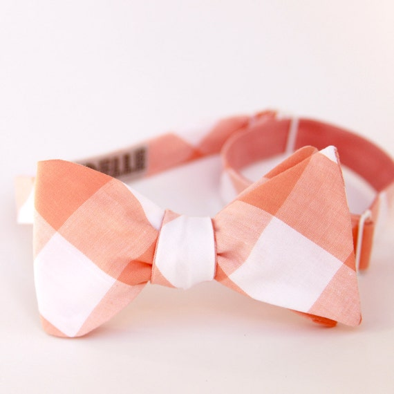 fat creamsicle gingham freestyle bow ties- reserved