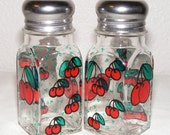 Hand painted glass salt and pepper shakers, cherries, one pair