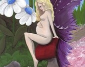 Ethereal Expectation, pregnant, nude fairy, original acrylic painting on canvas sheet