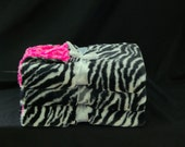 Baby Girl Blanket Luxurious Zebra and Hot Pink Rosette Print