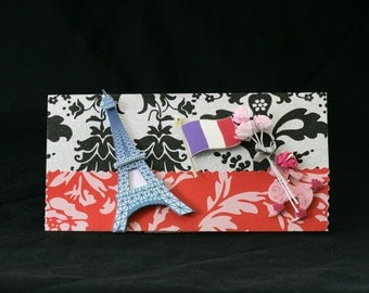 Checkbook Cover Handmade Clear Vinyl Paris France Design