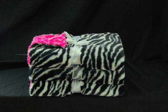 Baby Girl Baby Blanket  Zebra and Hot Pink Rosette Print, baby minky, Bright Pink baby blanket, newborn baby blanket, baby shower girl gift
