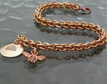 Bronze - Silver - Chainmaille - Bracelet - Hive And Honeybee - Charms - Jens Pind