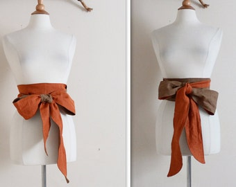 Christmas gift idea dual tone  linen slim obi sash / linen chic gift / gift for her / obi sash / belt / women accessories /kimono obi