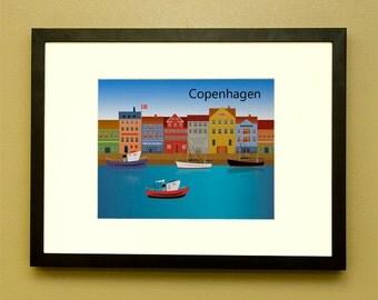Copenhagen Denmark Poster Print Illustration Nyhavn Kopenhagen København Danmark  unframed print