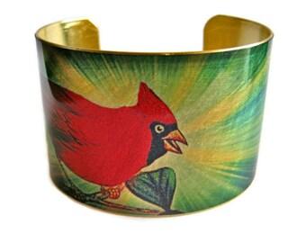 CARDINAL Bird Cuff bracelet BRASS or aluminum Gifts for her