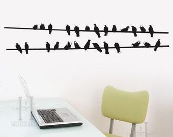 Modern aesthetic Bird Vinyl Wall Decal, Birds sitting on a line, Flock of Birds, Bird Decor, Window Decals, Wall Decals, Office Wall Art