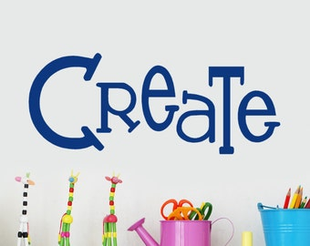 Wall Decals Craft Room, Create Decal, Crafting Quotes, Artist gifts, Home school Activity Wall Center, Create Sticker, Craft Room Decor
