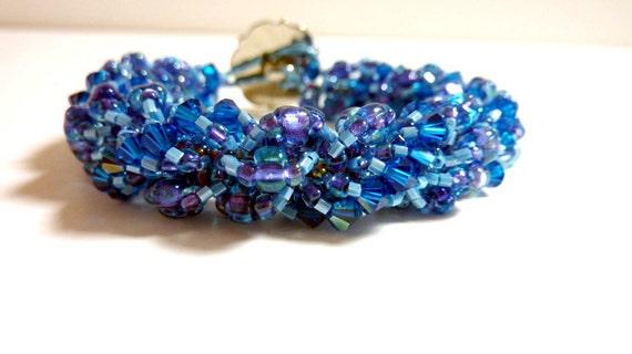 Chunky Blue Bracelet Spiral Rope, Glass Beaded Bracelet, Blue, Handwoven Bracelet, Gift for her
