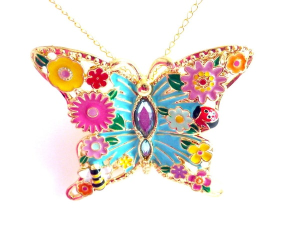 Butterfly Pendant Necklace, Aqua Pink Yellow Green Gold Flowers Butterfly Pendant, Spring Summer Fun Colorful, Mother's Day