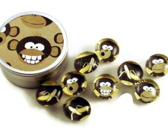 Funky Glass Push Pins  Thumb Tacks Cork Board Pins in  Goin Bananas with Gift Tin (PT56)