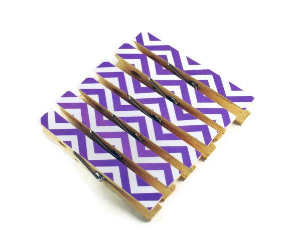 Altered Clothes Pins Decorative Clothespins  in Zig Zag Grape Set of 6