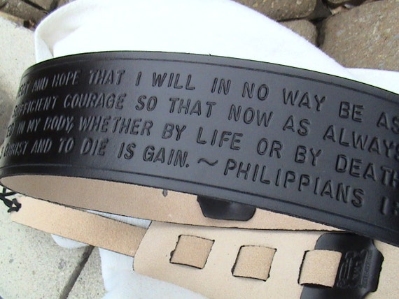 LMN Custom Leather Adjustable Guitar Strap - Religious - Bible verses - Psalms - Quotes - Sayings - Long text