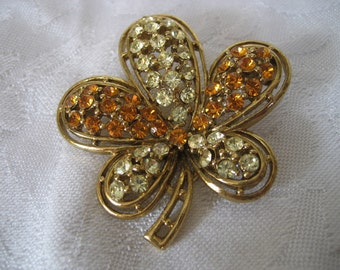 VINTAGE Orange & Yellow Rhinestone Gold Metal Flower Costume Jewelry Brooch