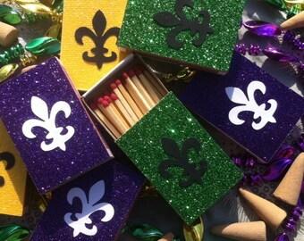 10 Mardis Gras New Orleans Themed Matchbox Wedding Favors - Party Favors