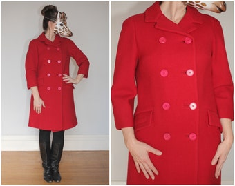 Vintage 60s Double-Breasted Peacoat in Cherry Red with 3/4-Length Sleeves | Medium