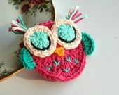 Crochet Owl in Pink and Mint Green Sleepy Owl