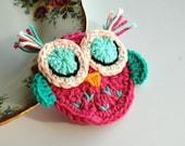 Crochet Owl in Pink and Mint Green Sleepy Owl