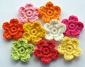 Crochet Flowers in Bright Zesty Colours x 9