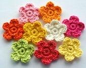 Crochet Flowers in Bright Zesty Colours x 9