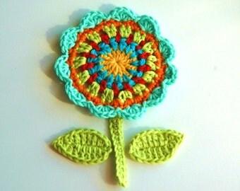 Crochet Flower Motif - Turquoise, lime, orange