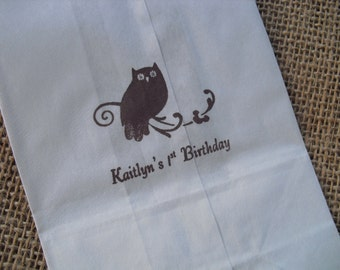 Owl Personalized Wedding White Paper Favor Bags Cookie Bags Candy Buffet Bags - Set of 10 - Item WP1228