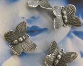 Silver Ox Plated Brass Butterfly Connectors w/upturned wings 326SOX x4