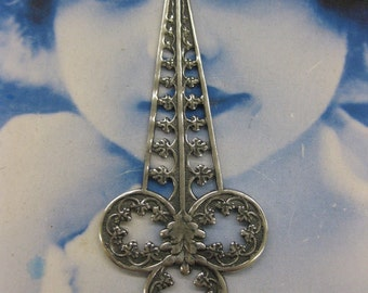 Silver Ox Plated Brass Art Nouveau Filigree Dangles 2222SOX x2
