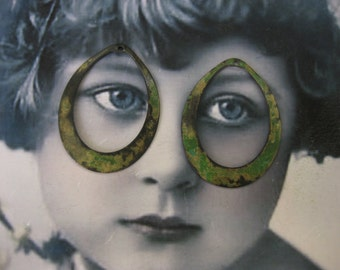 Hand Aged Verdigris Patina Brass Oval Hoops 42VER x2