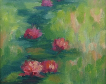 Original Oil Painting WATER LILIES 9x12