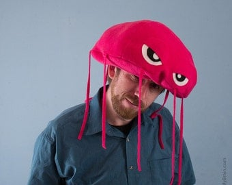 Jellyfish Hat Plush Fleece - Hot Pink