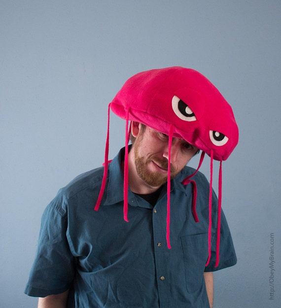 Jellyfish Hat Plush Fleece - Hot Pink