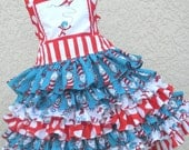 Custom Boutique Dr Seuss Thing 1 2  Cat in Hat 2 Piece Nie Nie Set Girl 2 3 4 5 6 7 8