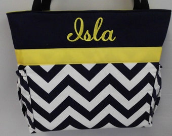 CHEVRON  in NAVY  .. YELLOW  Accents  ...   Diaper Bag ... Bottle Pockets ... Monogrammed  FReE
