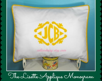 The Lisette Applique Framed Monogrammed King Pillow Sham - King 20 x 36