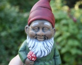 Black Gnome Holding a Mushroom - Homie The Gnomie - Garden Decor Art