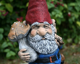 Garden Gnome - LARGE 16 Inches Tall - Solid Concrete