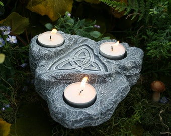 Goddess Art - Tea Light Holder - Celtic Knotwork Triquetra