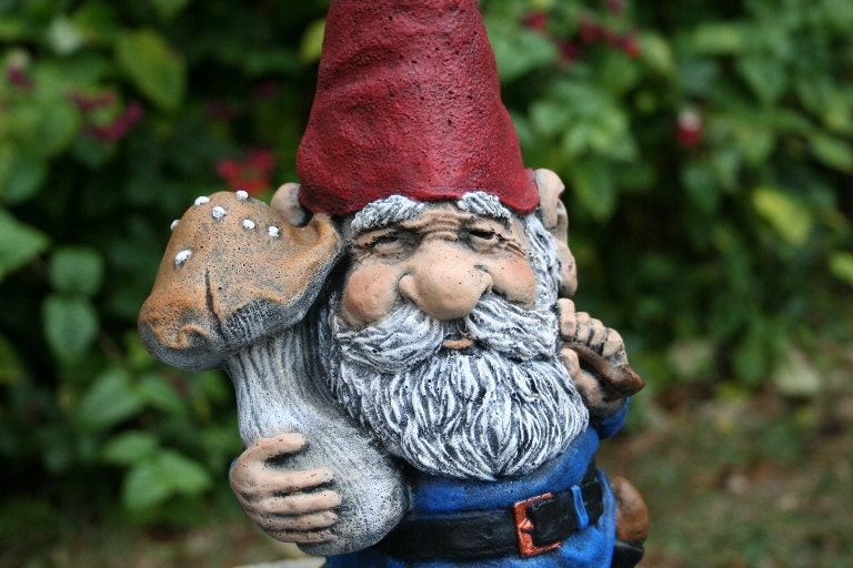 Gnome In Garden: Garden Gnome LARGE 16 Inches Tall Solid Concrete