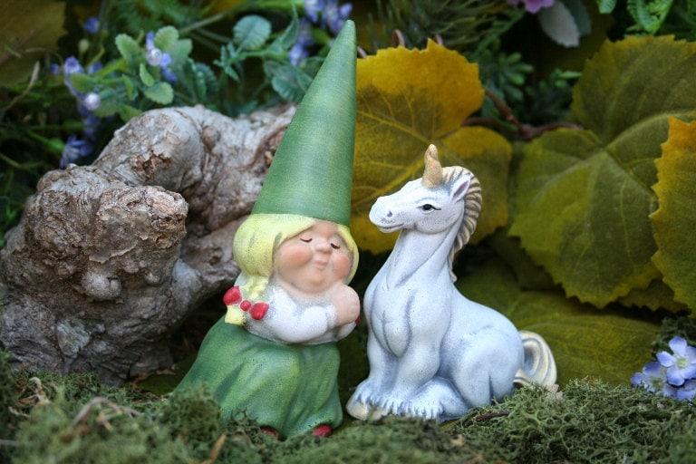 Gnome Garden: Woman Gnome & Her White Unicorn Fairy Garden Art By